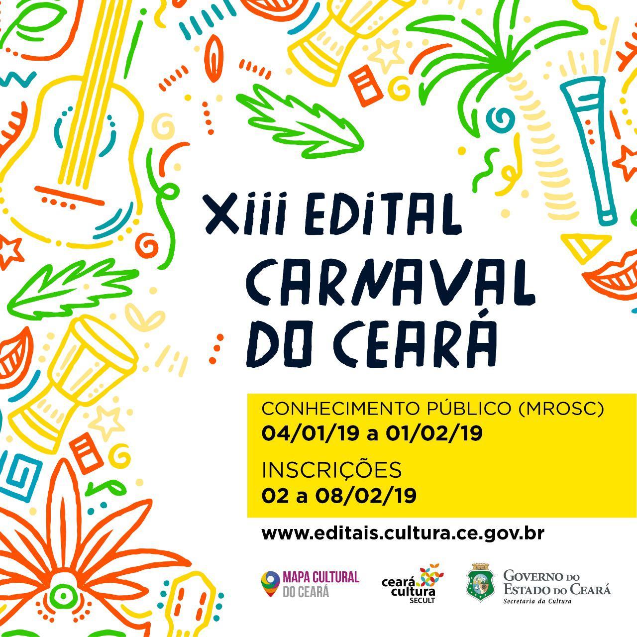 XIII Edital Carnaval do Ceará: Inscrição e Seleção Pública