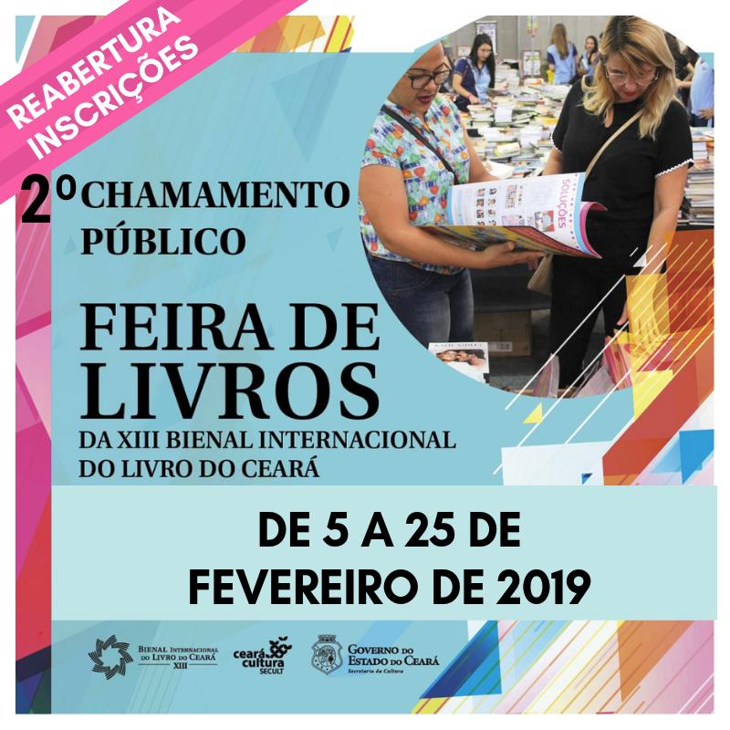 2º Chamamento Público – Secult reabre inscrições para a realização da Feira de Livros da XIII Bienal Internacional do Livro do Ceará