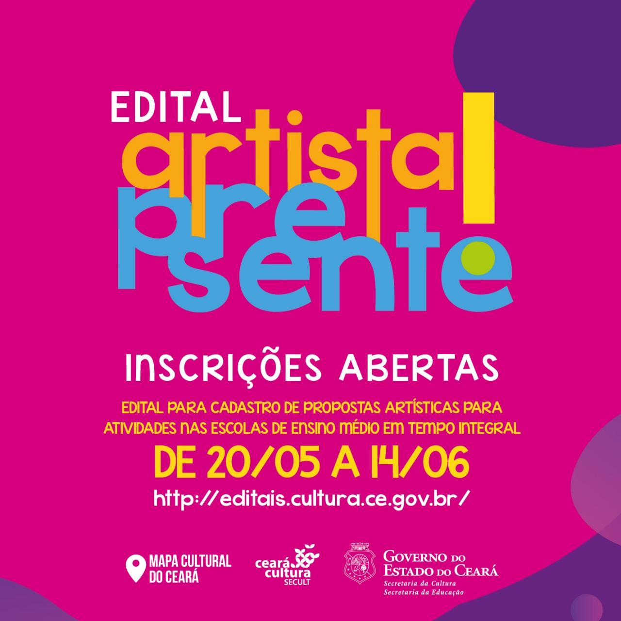 """Secult e Seduc lançam edital """"Artista, Presente!"""""""