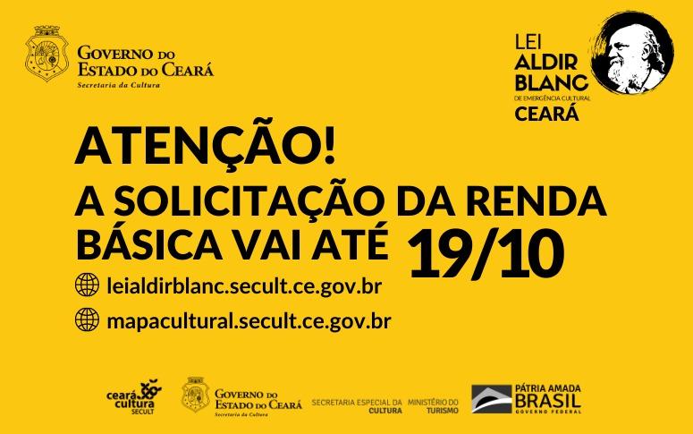 Lei Aldir Blanc no Ceará: solicitação de renda básica segue até 19/10