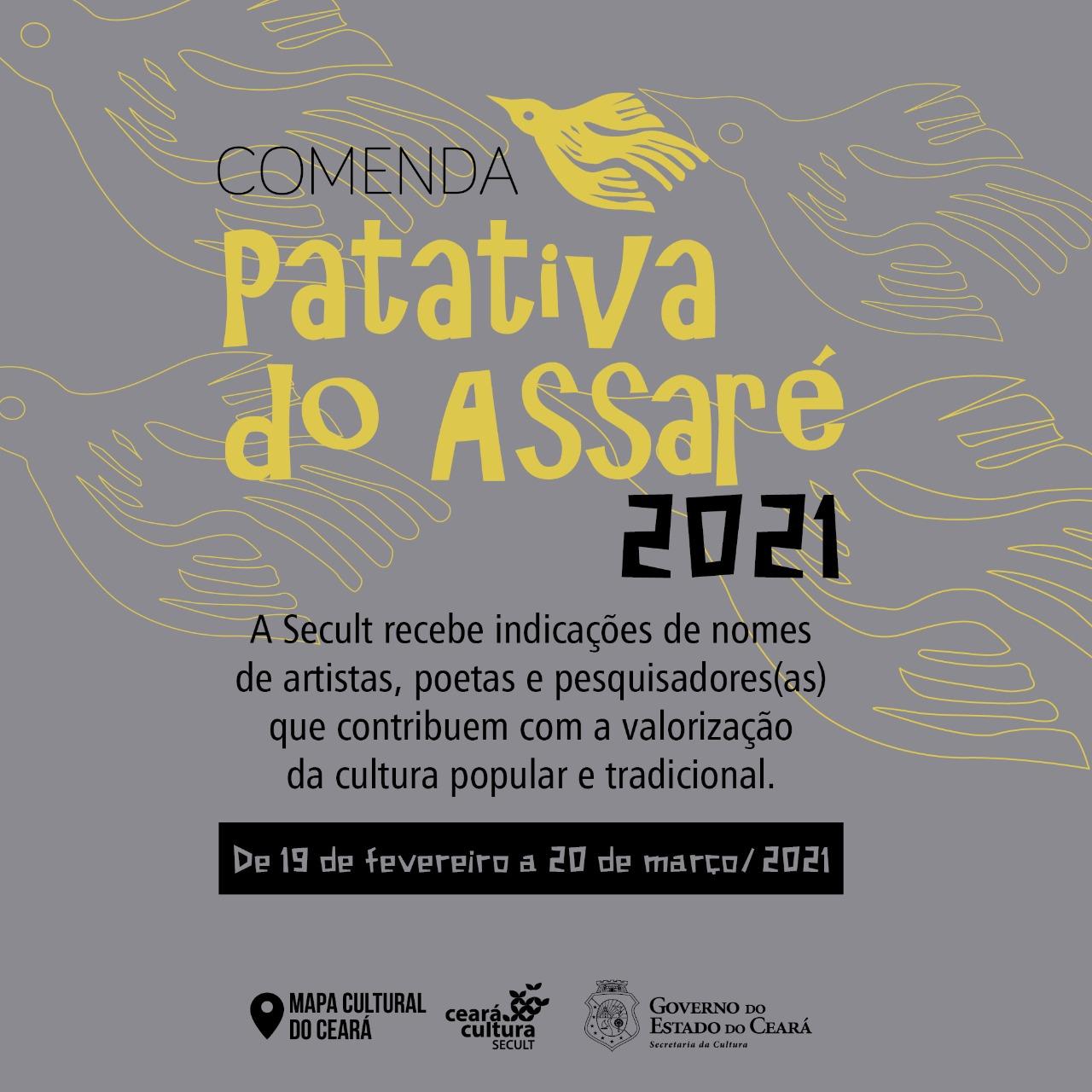 Secult Ceará lança Comenda Patativa do Assaré 2021 e recebe indicações de nomes para homenagem